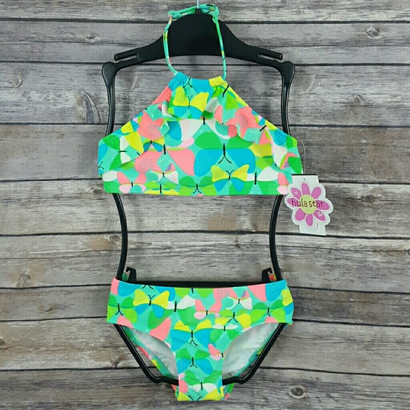 Hula Star Kids Girls Size 5 6 Star Sequins Striped Two-Piece Swimsuit ~NEW